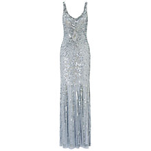 Buy Aidan Mattox Long Beaded Dress, Light Blue Online at johnlewis.com