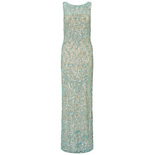Buy Aidan Mattox Beaded Lace Sheath Gown, Light Green Online at johnlewis.com
