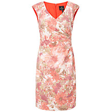 Buy Adrianna Papell Pleat Detail Dress, Coral/Multi Online at johnlewis.com