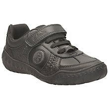 Buy Clarks Stomp Bootleg Laced School Shoe, Black Online at johnlewis.com