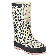 Buy John Lewis 3D Cat Wellington Boots, Cream/Black Online at johnlewis.com