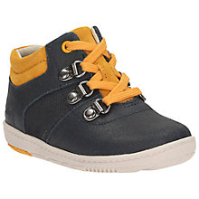 Buy Clarks First Maxi Square Trainer Shoes, Blue/Yellow Online at johnlewis.com
