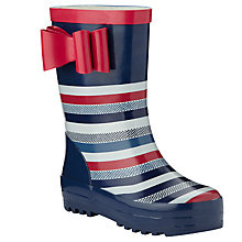 Buy John Lewis Stripe 3D Bow Wellington Boots, Navy/Red Online at johnlewis.com