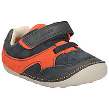 Buy Clarks Tiny Lee Pre Walker Shoes, Navy/Orange Online at johnlewis.com