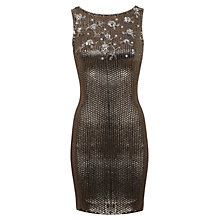 Buy Miss Selfridge Dita Bodycon Dress, Gold Online at johnlewis.com