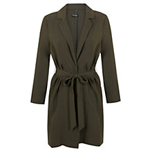 Buy Miss Selfridge Crepe Belted Duster Coat, Khaki Online at johnlewis.com