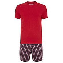 Buy John Lewis Check Shorts and T-Shirt Pyjama Set, Navy/Red Online at johnlewis.com