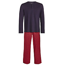 Buy John Lewis Cotton Long Sleeve Shirt and Brushed Gingham Trousers Lounge Set, Navy/Red Online at johnlewis.com