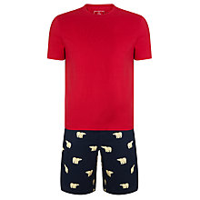 Buy John Lewis Polar Bear Print Shorts & T-Shirt Lounge Set, Red/Navy Online at johnlewis.com
