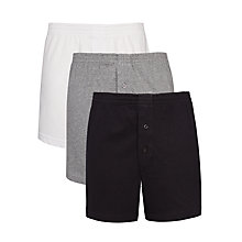 Buy John Lewis Organic Cotton Jersey Boxers, Pack of 3, Black/Grey/White Online at johnlewis.com