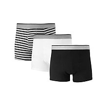 Buy John Lewis Organic Cotton Stripe Solid Hipster Trunks, Pack of 3, Black/Grey/White Online at johnlewis.com
