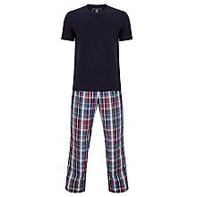 Buy John Lewis Martin Check Pants and T-Shirt Pyjama Set, Navy Online at johnlewis.com