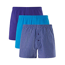 Buy John Lewis Organic Jersey Cotton Double Button Boxers, Pack of 3, Blue Online at johnlewis.com