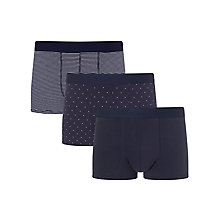 Buy John Lewis Multi Design Cotton Trunks, Pack of 3, Navy Online at johnlewis.com