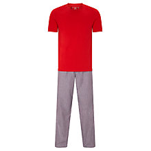 Buy John Lewis Two Stripe Cotton Trousers and T-Shirt Lounge Set, Navy/Red Online at johnlewis.com