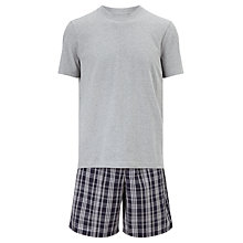 Buy John Lewis Jim Check Shorts and T-Shirt Pyjama Set, Grey Online at johnlewis.com