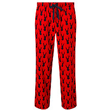 Buy John Lewis Brushed Stag Print Cotton Lounge Pants, Red Online at johnlewis.com