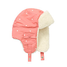 Buy John Lewis Polka Dot Ski Trapper Hat, Pink Online at johnlewis.com