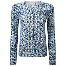 Buy Pure Collection Cashmere Cardigan, Blue Print Online at johnlewis.com