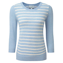 Buy Pure Collection Striped Cashmere Sweater, Chambray Blue/Soft White Online at johnlewis.com