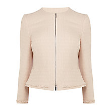 Buy Karen Millen Fringed Tweed Jacket, Pale Pink Online at johnlewis.com