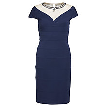 Buy Gina Bacconi Lightweight Ponti Dress With Beaded Mesh Neckline, Slate Online at johnlewis.com