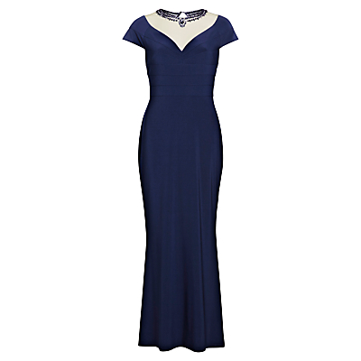 Gina Bacconi Long Fishtail Dress With Beaded Mesh Neckline, Spring Navy