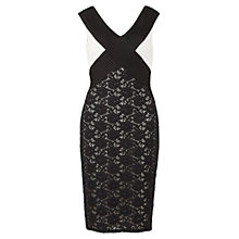 Buy Gina Bacconi Contrast Pintuck Jersey and Lace Dress, Black/Chalk Light Online at johnlewis.com
