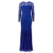 Buy Gina Bacconi Long Beaded Dress, Dark Violet Online at johnlewis.com