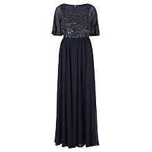 Buy Gina Bacconi Floor Length Chiffon Dress With Beaded Bodice, Navy Online at johnlewis.com