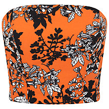 Buy Miss Selfridge Floral Printed Bandeau Top, Orange Online at johnlewis.com