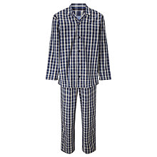 Buy John Lewis James Oxford Check Woven Cotton Pyjamas, Navy Online at johnlewis.com