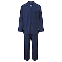 Buy John Lewis Satin Stripe Cotton Pyjamas, Blue Online at johnlewis.com
