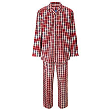 Buy John Lewis Simon Oxford Check Cotton Pyjamas, Red Online at johnlewis.com