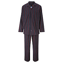 Buy John Lewis Will Brushed Stripe Cotton Pyjamas, Navy Online at johnlewis.com