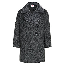 Buy John Lewis Girl Leopard Print Coat, Grey Online at johnlewis.com