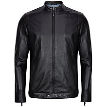 Buy Ted Baker Kennit Leather Biker Jacket, Black Online at johnlewis.com