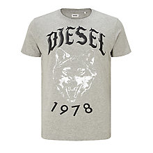 Buy Diesel T-Roff Logo Wolf T-Shirt, Grey Online at johnlewis.com