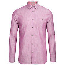 Buy Ted Baker Farewel Classic Linen Blend Shirt, Bright Pink Online at johnlewis.com