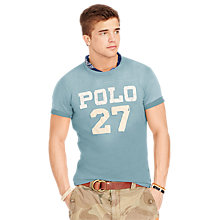 Buy Polo Ralph Lauren Distressed Polo 27 T-Shirt, Audobon Blue Online at johnlewis.com