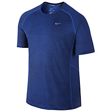 Buy Nike Miler Printed Running T-Shirt, Blue Online at johnlewis.com