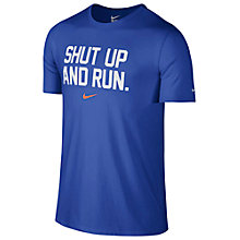 Buy Nike Dri-FIT Blend Shut Up Running T-Shirt, Blue Online at johnlewis.com