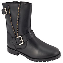 Buy John Lewis Fiona Zip Leather Biker Boots, Black Online at johnlewis.com