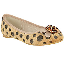 Buy John Lewis Fleur Faux Pony Gem Detail Ballerina Flats, Neutral Online at johnlewis.com