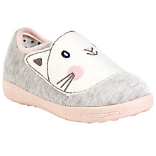Buy John Lewis Kitten Slippers, Grey/Pink Online at johnlewis.com