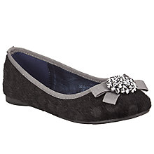 Buy John Lewis Fleur Faux Pony Embellished Ballet Pumps, Black Online at johnlewis.com