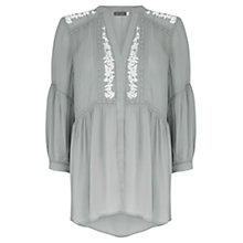 Buy Mint Velvet Lichen Embroidered Blouse, Green Online at johnlewis.com