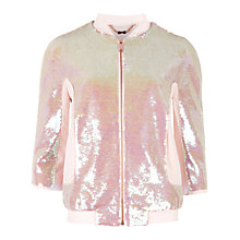 Buy Ted Baker Collina Sequin Bomber Jacket, Nude Pink Online at johnlewis.com