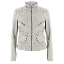 Buy Mint Velvet Leather Bomber Jacket, Khaki Online at johnlewis.com