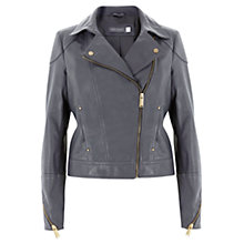 Buy Mint Velvet Leather Biker Jacket, Steel Online at johnlewis.com